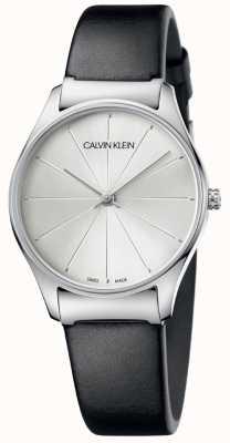 Calvin Klein Bracelet en cuir noir classique avec cadran argenté K4D221C6