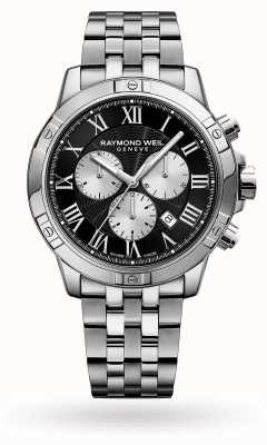 Raymond Weil Mens tango chronographe en acier inoxydable cadran noir 8560-ST-00206
