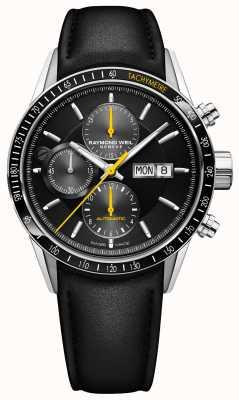 Raymond Weil Bracelet en cuir noir chronographe automatique pour homme freelancer 7731-SC1-20121