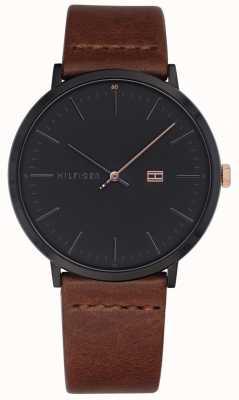 Tommy Hilfiger Montre homme james bracelet en cuir marron cadran gris foncé 1791461