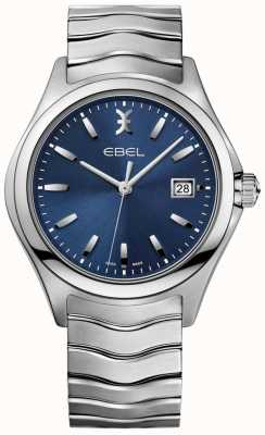 EBEL Affichage de la date du bracelet en acier inoxydable avec cadran bleu 1216238