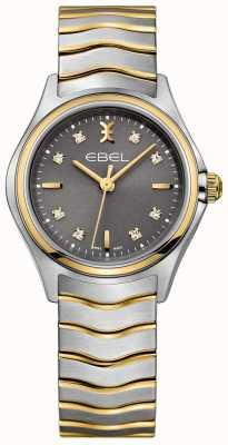 EBEL Bracelet bicolore serti diamant vague femme cadran gris 1216283