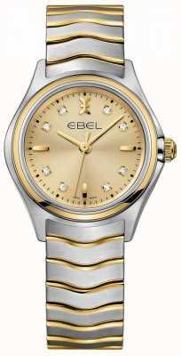 EBEL Cadran champagne diamant femme deux tons or jaune et argent 1216317