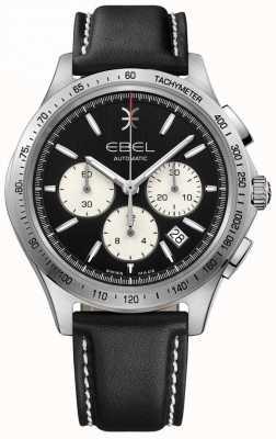 EBEL Chronographe automatique à remontage automatique noir pour homme en cuir noir 1216404