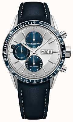 Raymond Weil Mens freelancer chronographe automatique bracelet en cuir bleu 7731-SC3-65521