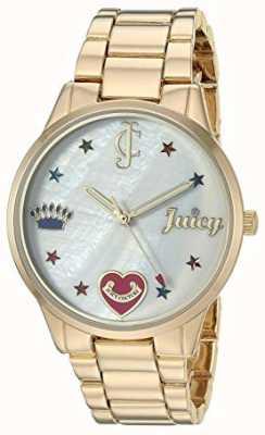 Juicy Couture Montre bracelet en acier doré pour femme avec marqueurs de couleur JC-1016MPGB
