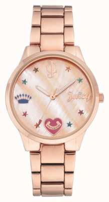 Juicy Couture Montre-bracelet pour femme, couleur or rose, avec marqueurs de couleur JC-1016RMRG