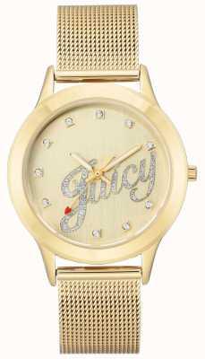 Juicy Couture Montre juteuse pour femme avec bracelet maillé et doré JC-1032CHGB