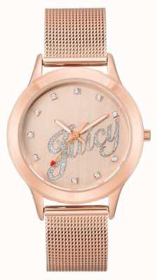 Juicy Couture Montre juteuse pour femme avec bracelet en maille de ton or rose JC-1032RGRG