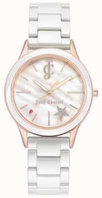 Juicy Couture Bracelet pour femme en or blanc avec cadran blanc et cadran blanc JC-1048WTRG