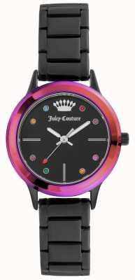 Juicy Couture Bracelet pour femme avec cadran noir et lunette colorée JC-1051MTBK