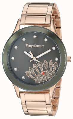 Juicy Couture Acier inoxydable pour femmes en or rose | couronne noire JC-1052OLRG