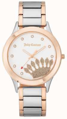 Juicy Couture Cadran pour femme avec ton or rose et bracelet deux tons JC-1053WTRT
