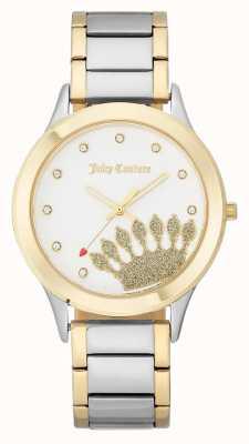 Juicy Couture Cadran de couronne doré pour femmes et bracelet à deux tons JC-1053WTTT