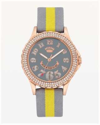 Juicy Couture Bracelet en nylon gris et jaune pour cadran large JC-1056RGGY