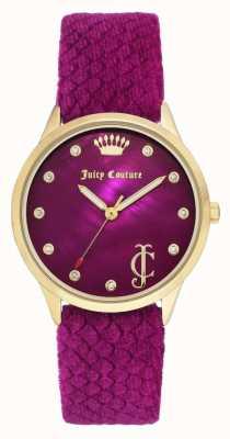 Juicy Couture Cadran Bordeaux Femme | bracelet en velours bordeaux | boitier doré JC-1060HPHP