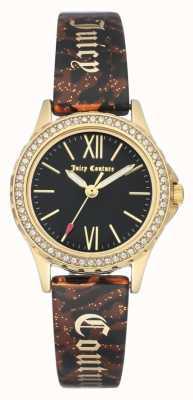 Juicy Couture Boitier doré pour femme | bracelet marron | étui noir JC-1068BKBN