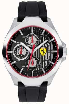 Scuderia Ferrari Chronographe noir chronographe noir bracelet en caoutchouc noir 0830510