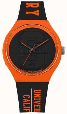 Superdry Urban xl varsity mat noir cadran noir bracelet orange SYG240BO