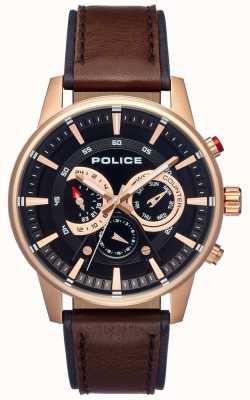 Police Cadran en cuir marron pour homme PL.15523JSR/02
