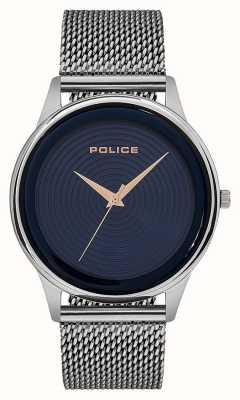 Police Bracelet à mailles en acier inoxydable de style intelligent pour hommes cadran bleu PL.15524JS/03MM