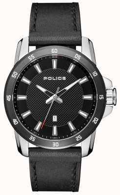 Police Cadran noir en cuir noir pour homme PL.15526JSTB/02