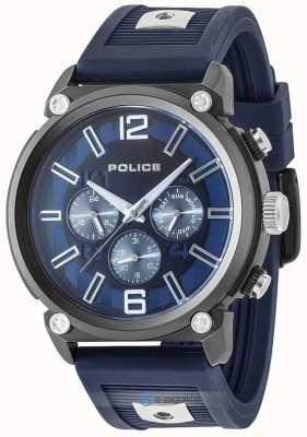 Police Cadran bleu avec bracelet en silicone bicolore PL.15049JSU/03P