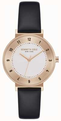 Kenneth Cole Montre à bracelet en cuir noir pour femme KC50075003