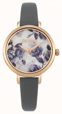 Cath Kidston Bracelet femme couleur gris or rose cadran imprimé coquelicot CKL060ERG