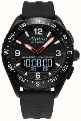 Alpina Bracelet en caoutchouc noir Alpinerx smartwatch AL-283LBB5AQ6