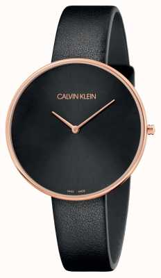 Calvin Klein Bracelet en cuir noir or rose pour femme, pleine lune K8Y236C1