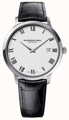 Raymond Weil Bracelet en cuir noir toccata pour homme cadran blanc 5588-STC-00300