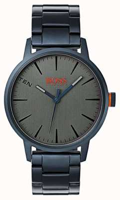 Hugo Boss Orange Mens copenhagenblue pvd plaqué acier bracelet gris cadran 1550059