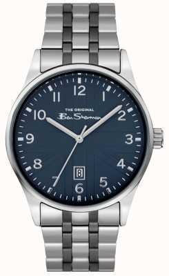 Ben Sherman Boitier cadran blanc mat argenté bracelet croco noir BS017USM