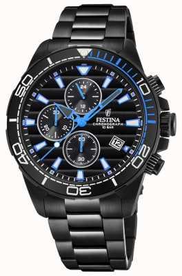Festina Bracelet en plaqué or noir pvd noir chrono cadran montre bleu F20365/2