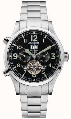 Ingersoll Mens l'armstrong automatique noir chrono en acier inoxydable I02103