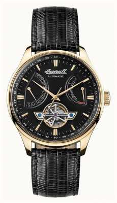 Ingersoll Mens hawley automatique cadran noir bracelet en cuir noir I04606