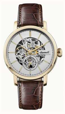 Ingersoll Mens the smith automatique cadran argenté bracelet en cuir marron I05704