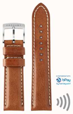 Kronaby Sangle de paiement sans contact Bpay 22mm en cuir marron A1000-3359