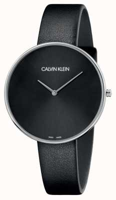 Calvin Klein Ladies cadran noir cuir pleine lune noir K8Y231C1