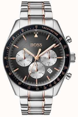 Hugo Boss Montre homme trophée gris cadran chronographe en acier inoxydable 1513634