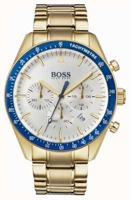 BOSS Montre trophée homme cadran chronographe blanc ton or 1513631