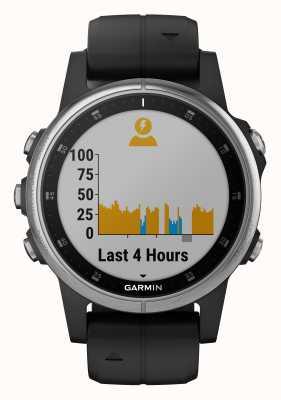 Garmin Bracelet en caoutchouc noir Fenix 5s plus lunette argentée 010-01987-21