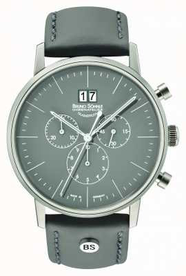Bruno Sohnle Stuttgart Homme chrono 42mm gris avec bracelet en cuir 17-13177-841