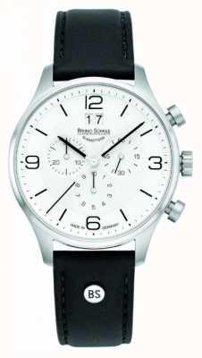 Bruno Sohnle Hommes cadran 42mm chronographe cadran blanc bracelet en cuir noir 17-13196-921