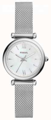 Fossil Womens carlie en acier inoxydable maille nacre cadran ES4432