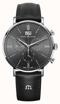 Maurice Lacroix Chronographe eliros homme noir bracelet en cuir noir cadran gris EL1088-SS001-811-1