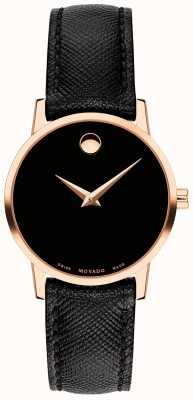 Movado Womens museum bracelet en cuir noir or rose 0607206