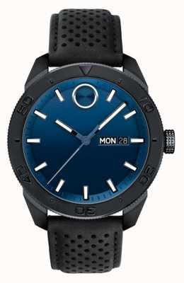Movado Bracelet en cuir perforé noir cadran noir gras hommes 3600495