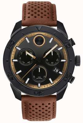 Movado Bracelet en cuir marron perforé chronographe gras pour homme 3600515
